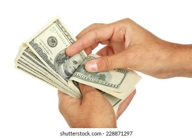 A Men hand holding hundred dollars bill on white background