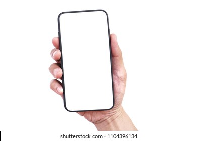 Men hand holding mobile smartphone empty touch screen isolated on white background.Blank free word, Copy space for text.Use for your advertisement design or mock up text.Business,Technology Concept.