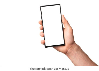 Men Hand holding new modern smartphone mobile phone with empty display screen, isolated on white background