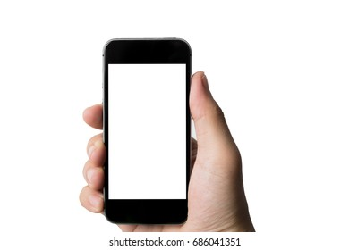Men hand holding Phone With white Screen.