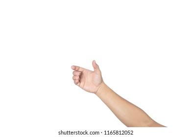 Men hand on white background.