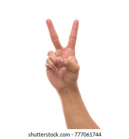 Men hand showing the number two over white background, include clipping path