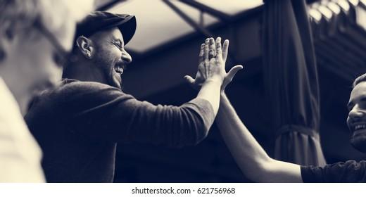 Men Hands High Five Meeting Greeting