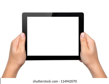 Men hands hold a tablet touch pad computer gadget with isolated screen