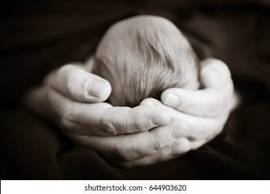 men hands holding the head of a newborn, conceptual for dolor in black and white