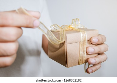 Men hands opening gift box, Birth day concept, New year gift