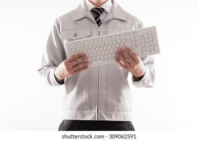 Men have a computer keyboard