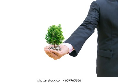 Men hold money with investments. Interest on deposits Banks and stock exchanges White Background