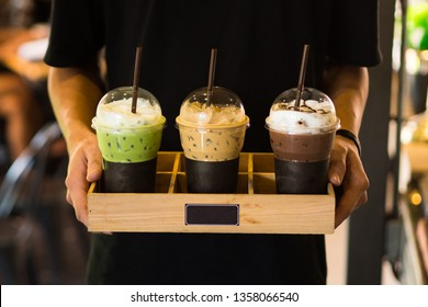 Men holding Beverage drinks ready to serve,cafe style,green tea ,coffee,chocolate