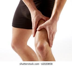 Men holding on knee