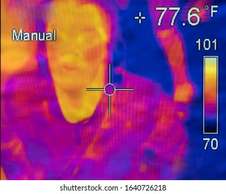 Men infrared photo shows temperature differences in various locations, research and science