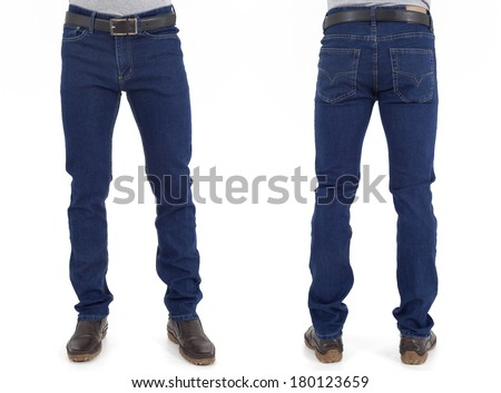 5375be94d1 men in jeans trousers on white background back and front views. Ver vista  previa