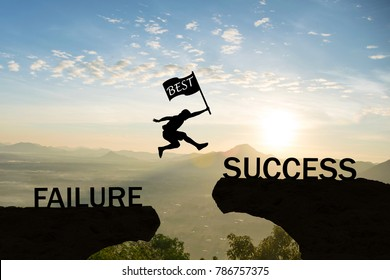 Men jump over silhouette hand hold flag best failure Committed to success.