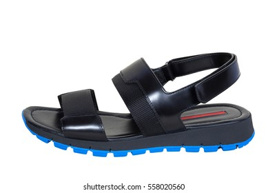 Men leather sandal and flip flop shoes isolated on white background