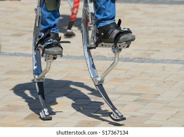 Men legs for a jumping stilts