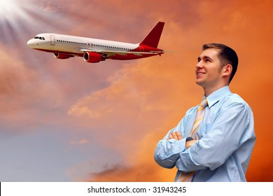 men look on airplane in air with sunrise sky