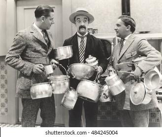 Men with lots of pots