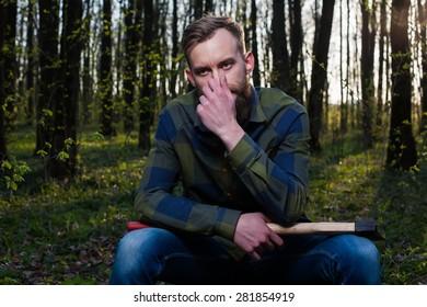 men man hipster beard lumber jack forest wood axe