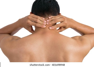 Men with neck pain isolated on white with clipping path.