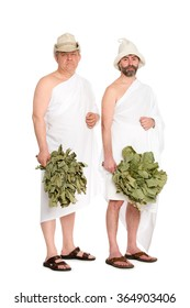 Men with oak twigs for the Russian baths. From a series of Russian bath.