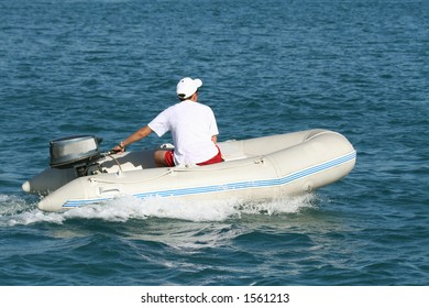 men on a inflatable boat