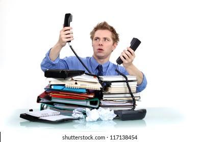 Men overwhelmed at work