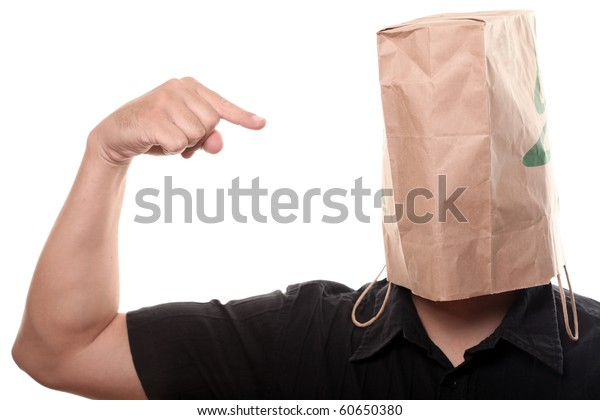Men with Paper Bag over his Head