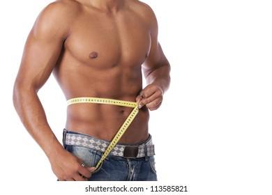 Man Measuring Waist Images, Stock Photos & Vectors