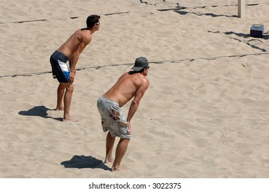 Men Playing Beach Volleyball in Southern California