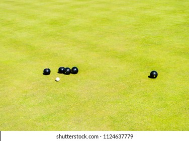 Men playing bowls at the bowling club  Greate Yarmouth, England. Bowls Tournaments in Greater Yarmouth.The bowling green.