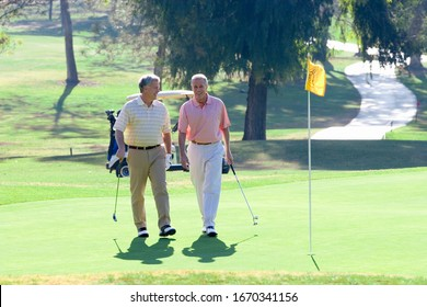Men playing on golf course walk on green with flag holding golf clubs