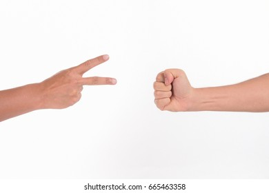 Men playing rock paper scissors on white background