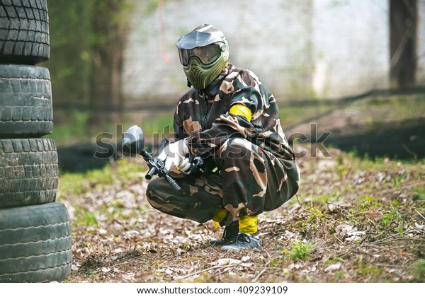 Men Protective Suits Masks Play Paintball Stock Photo (Edit Now