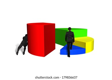 Men pushing and climbing 3d pie chart isolated in white background