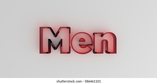 Men - Red glass text on white background - 3D rendered royalty free stock image.