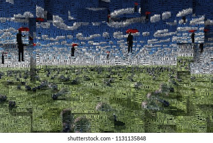 Men with red umbrellas hovers above field of light bulbs. Clouds in shape of question sign. Light bulbs symbolizes ideas. Picture is composed entirely of the words. 3D rendering