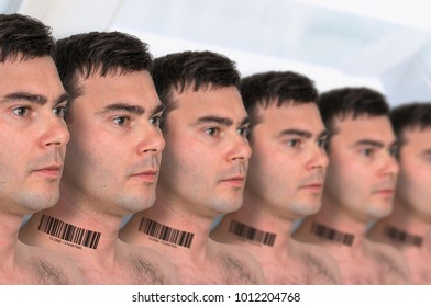 A lot of men in a row with barcode on neck - genetic clone concept