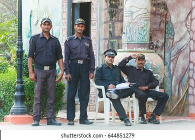 Men security at the hotel India Bridge Vasunda.India, Govardhan, November 2016