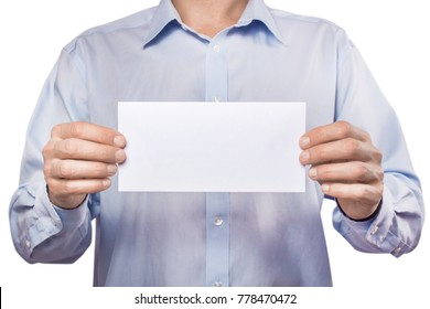 The men in the shirt are holding an empty white flyer. Isolated on white background. Mockup, template