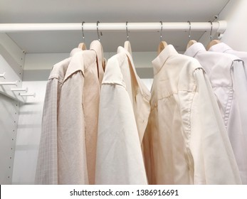 Men shirts business look clothes hanging.Laundry business