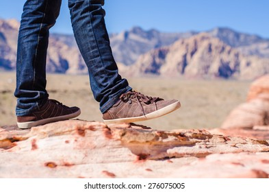 Men shoe canvas casual lifestyle outdoor solo travel hiking mountain on spring and summer,red rock canyon, Nevada USA. Hipster vintage shoes sneaker fashion.