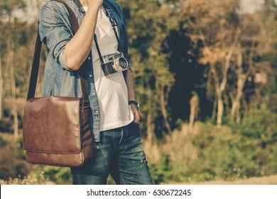 Men shoulder bag brown leather.