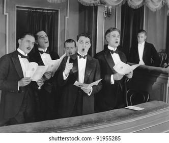 Men singing in choir
