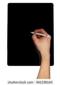 Men sketching using pencil on black tablet pro.