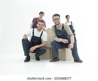 Men with stacked boxes isolated on white.