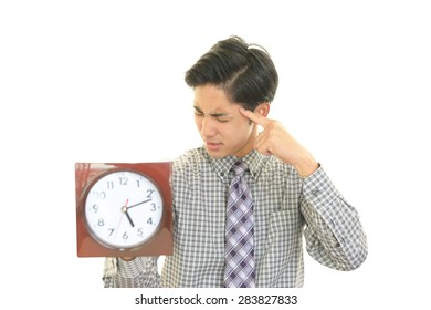 Men suffering with the clock