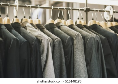 Men suits in a fashion shop in Milan