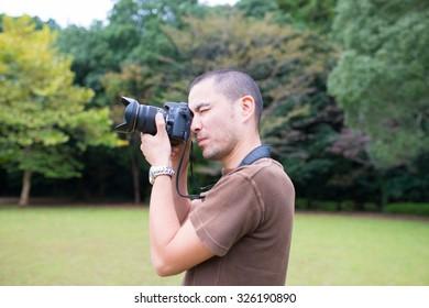 Men take pictures
