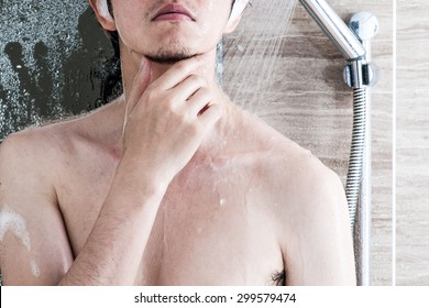 Men taking a shower