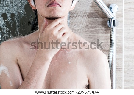 Men taking a shower